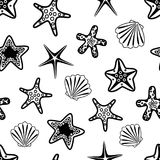 Seamless pattern with black seashells and starfishes. Underwater background. Vector illustration.  stock illustration
