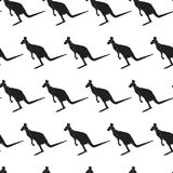 Seamless Pattern With Black Silhouette Kangaroo Animals Ornament Royalty Free Stock Images