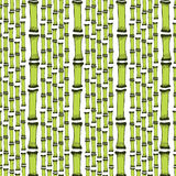 Seamless pattern with black silhouettes bamboo trees on white background. Endless hand drawn print texture. Vector Royalty Free Stock Photos