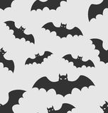 Seamless Pattern with Black Silhouettes of Bats Royalty Free Stock Photography