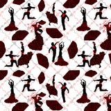 Seamless pattern of black silhouettes of dancing in Flamenco on a geometric fon. royalty free illustration