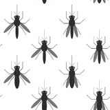 Seamless pattern black silhouettes of mosquitoes  on white background. Vector Royalty Free Stock Photo