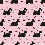 Seamless pattern with white silhouettes of terriers. Vector illu stock illustration