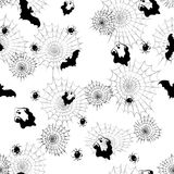 Seamless pattern of black spider web on white background Stock Photography