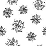 Seamless pattern with black spiderwebs on white background for Halloween. Vector royalty free illustration