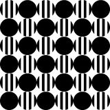 Seamless pattern of black and striped circles on a white background. Royalty Free Stock Image