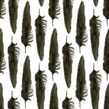 Seamless pattern with black watercolor feathers. Black feather of crow. Vector realistic illustration. Stock Image