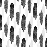 Seamless pattern with black watercolor feathers. Ethnic feather texture. Vector realistic illustration. Royalty Free Stock Photography
