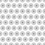 Seamless pattern, black and white abstract floral or ice-cream top. Seamless filler pattern you see 16 tiles, black and white abstract floral vintage eastern or Vector Illustration