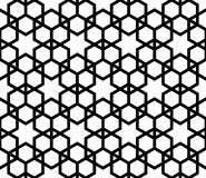 Seamless simple geometric pattern with six-pointed stars and hexagons. Seamless pattern in black and white in average thickness lines.The six-pointed stars and Vector Illustration
