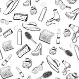 Seamless pattern black and white beauty objects Stock Photos