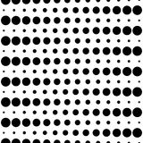 Seamless pattern, black & white circles and lines. Vector monochrome seamless pattern, different sized circles & dots, black & white, horizontal rows. Modern Stock Illustration