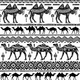 Seamless pattern with decorative Camels Royalty Free Stock Photos