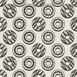 Seamless Pattern Black And White Donuts Background. royalty free illustration