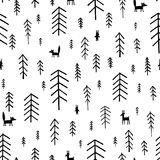 Seamless pattern black and white Fir Trees. Royalty Free Stock Photos