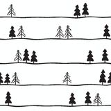 Seamless pattern with black and white fir-trees. Vector illustration Royalty Free Stock Images