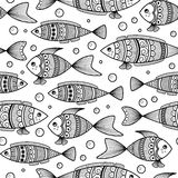 Seamless pattern of black and white fishes in doodle ink style Royalty Free Stock Images