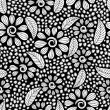 Seamless pattern with black and white flowers Stock Photos