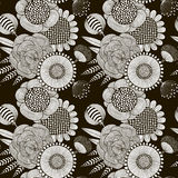 Seamless pattern of black and white flowers Stock Image