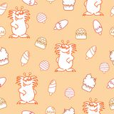 Seamless pattern with black and white funny doodle ghosts stock illustration