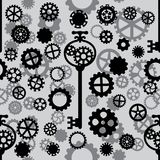 Seamless pattern with black and gray gears. Seamless pattern with black and white gears and key on a light gray background Stock Photography
