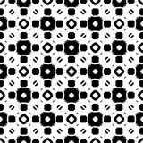Seamless pattern, black & white geometric ornament. Vector monochrome seamless texture, black & white geometric pattern, symmetric repeat tiles. Illustration Stock Image