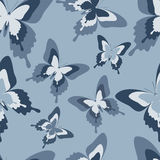 Seamless pattern with black, white and grey butterflies Stock Images