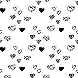 Seamless pattern with black-white hand-drawn hearts. EPS 10 Royalty Free Illustration
