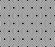 Seamless pattern with black white hexagons and striped lines. Stock Photos