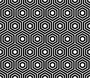 Seamless pattern with black white hexagons and striped lines. Stock Photo