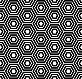 Seamless pattern with black white hexagons and striped lines. Royalty Free Stock Photos