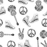Seamless pattern with black and white hippie peace symbol, acoustic guitars and hight snakers. In zentangle style. Hippy ornamental pattern. Hippie art royalty free illustration