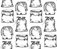 Seamless pattern with black and white illustrations of hand drawn canvas bags in row. Vector texture