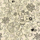 Seamless pattern with black-and-white leaves and insects Royalty Free Stock Photography