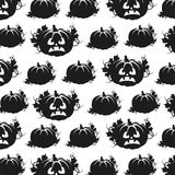 Seamless pattern in black and white pumpkins Stock Photo