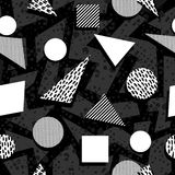 Seamless pattern in black and white retro style. Black and white retro seamless pattern with geometric shapes in 80s memphis fashion style. Ideal for web stock illustration