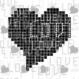 Seamless pattern with black and white square of the heart Royalty Free Stock Photo
