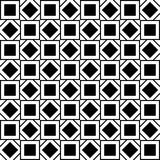 Seamless pattern with black and white squares and rhombuses Stock Images