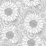 Seamless pattern with black and white sunflowers Royalty Free Stock Image
