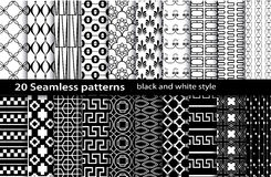 20 seamless pattern black and white. Pattern swatches included for illustrator user, pattern swatches included in file, for your convenient use stock illustration