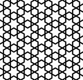 Seamless simple geometric pattern with six-pointed stars and hexagons. Seamless pattern in black and white in thick lines.The six-pointed stars and hexagons Vector Illustration