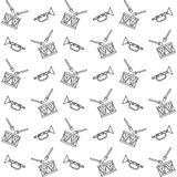 Seamless pattern, black and white toy musical instruments Stock Photography