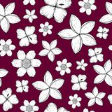 Seamless pattern with black and white tropical flowers vector illustration