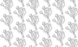 Seamless pattern black and white tulips flowers Royalty Free Stock Photography