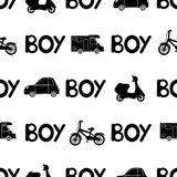Seamless pattern with black word boy and car, moped, bicycle. vector illustration