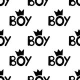 Seamless pattern with black word boy and crowns. royalty free illustration