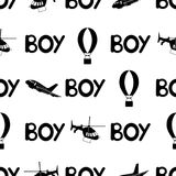 Seamless pattern with black word boy and plane, air balloon, helicopter. stock illustration