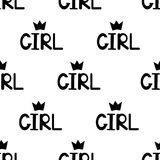 Seamless pattern with black word girl and crowns. royalty free illustration