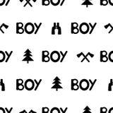 Seamless pattern with black words boy and binocular, ax, fir-tre. E. Vector illustration Stock Photo