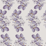 Seamless pattern of blackberry with branch and leaves Stock Photography